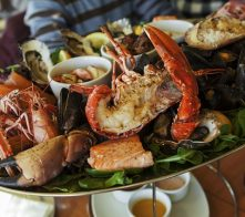 Dungeness Crab Festival cuisine in Port Angeles, WA.